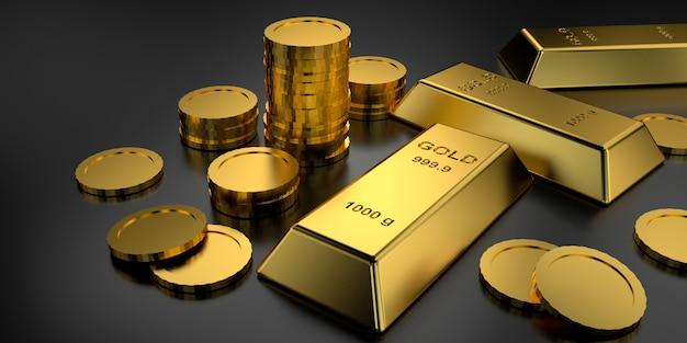 Sztabki złota na baner strony internetowej