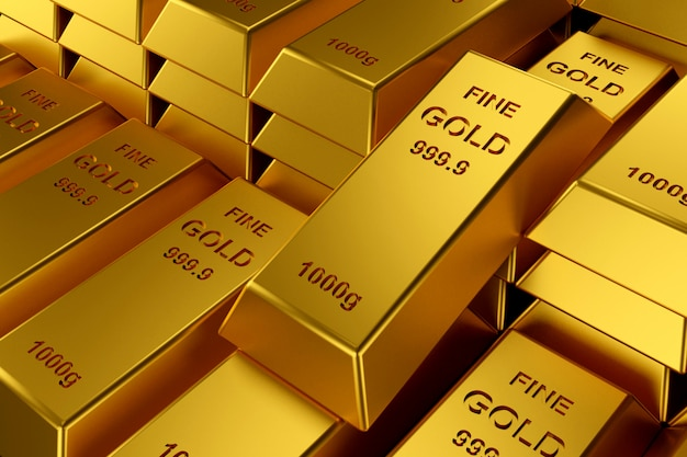 Sztabki złota na stronie internetowej. renderowanie 3d sztabek złota.