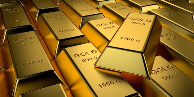 Sztabki złota ułożone. renderowanie 3d.