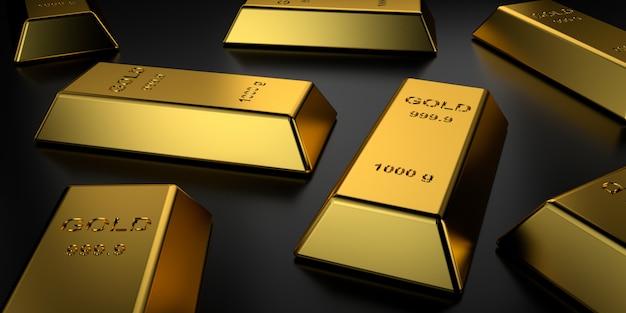 Sztabki złota ułożone w stos. renderowanie 3d.