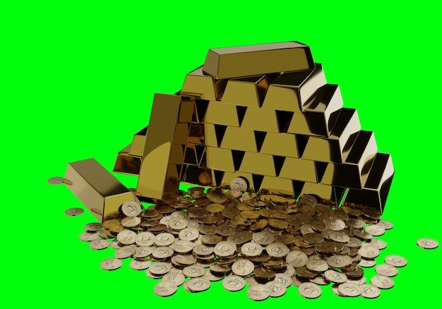 Sztabki złota w skarbcu banku.
