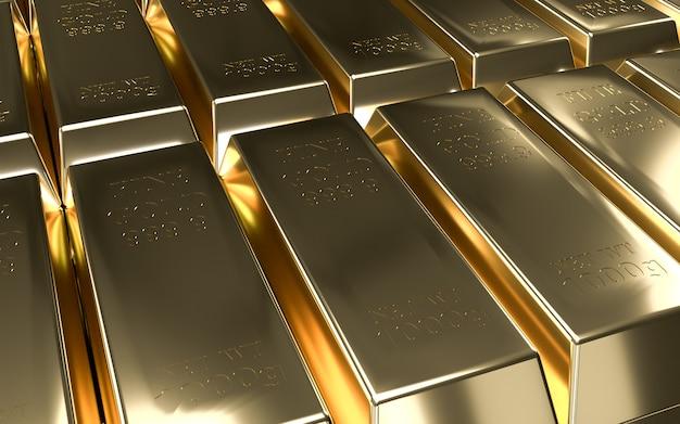Sztabki złota, waga błyszczących złotych sztabek 1000 gramów 999,9. pojęcie bogactwa miliarderów i rezerwy.