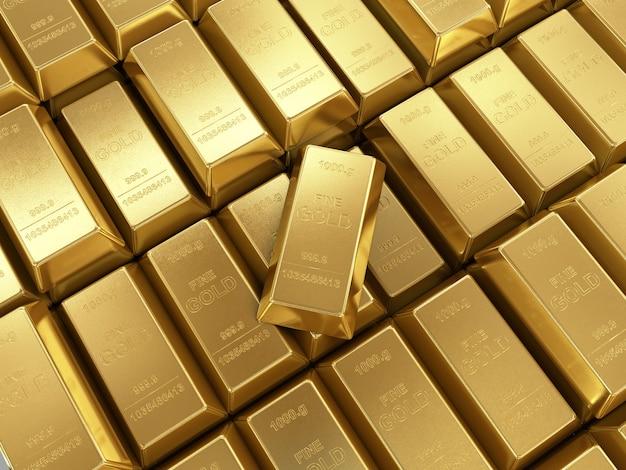 Sztabki złota z bliska
