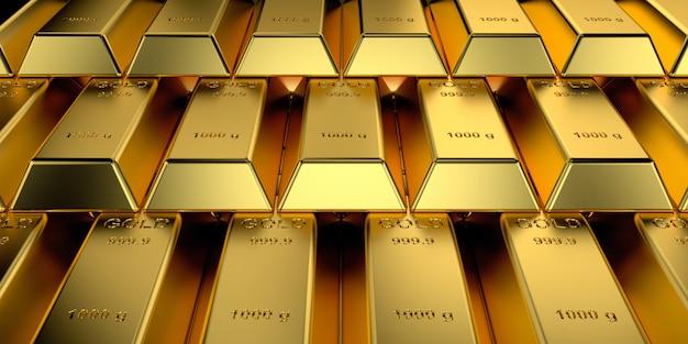 Sztabki złota z koncepcją baneru internetowego. renderowanie 3d.