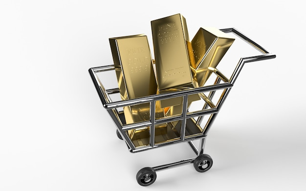 Sztabki złota, złoty wózek na zakupy, waga błyszczących złotych sztabek 1000 gramów 999,9. pojęcie bogactwa miliarderów i rezerwy. koncepcja cennego bogactwa finansowego lub inwestycji finansowych.