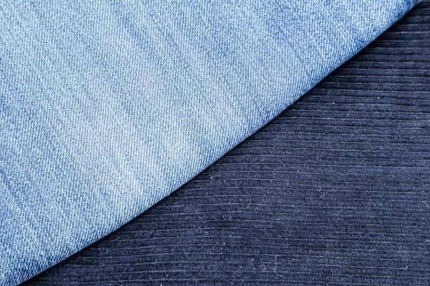 Sztruksowe spodnie i niebieskie dżinsy