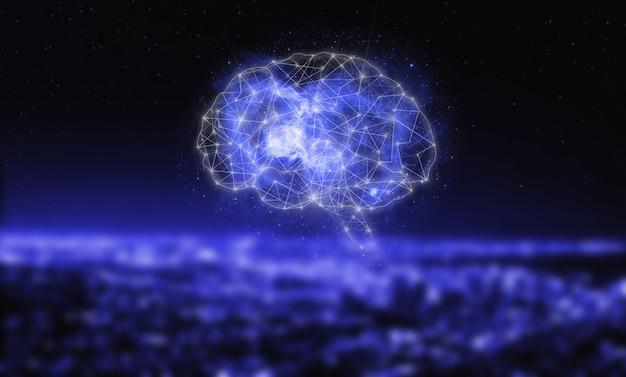 Sztuczna inteligencja cyfrowego mózgu. sieci neuronowe i inne koncepcje nowoczesnych technologii. technologia wirtualnej rzeczywistości lub sztucznej inteligencji