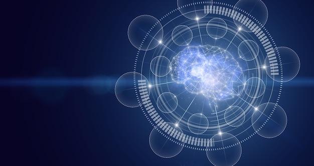 Sztuczna inteligencja cyfrowego mózgu. współczesna koncepcja cybermózgu. przemysł sztucznej inteligencji 4.0. technologia wirtualnej rzeczywistości lub sztucznej inteligencji