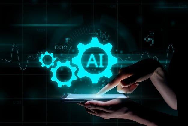Sztuczna inteligencja lub koncepcja ai. futurystyczny projekt ikony i grafika pod ręką z tabletem.