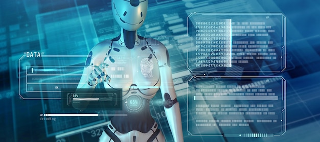 Sztuczna inteligencja współpracuje z elektronicznym zestawem danych d render