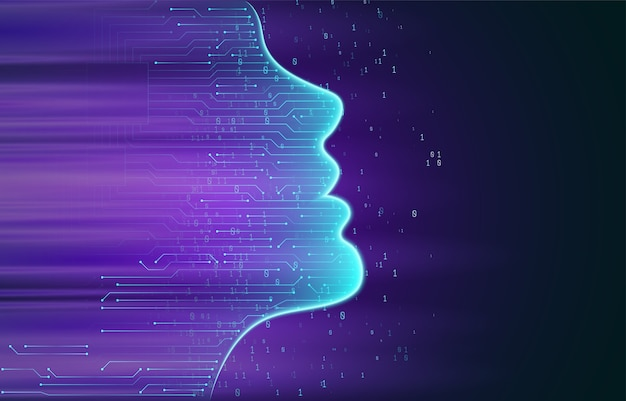Sztuczna inteligencja. zarys ludzkiej twarzy z płytką drukowaną wewnątrz. koncepcja ai. rozpoznawanie twarzy. skanowanie twarzy. duże zbiory danych. ilustracja.