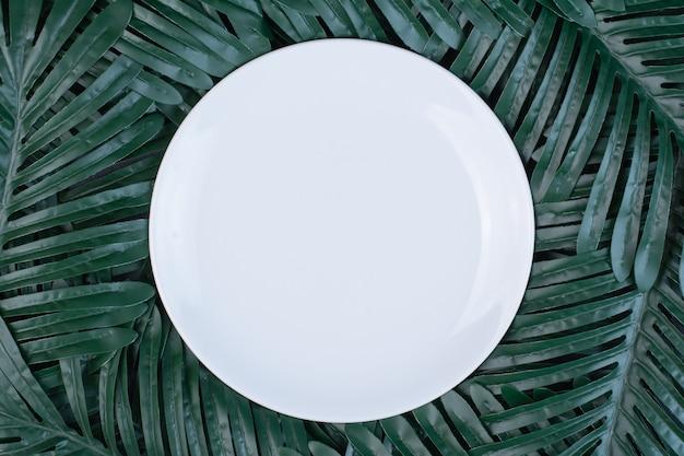 Sztuczne zielone liście wokół białego talerza.