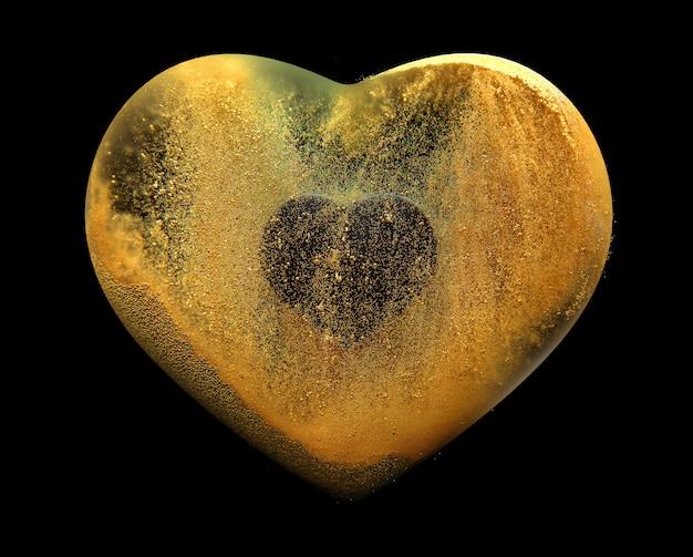 Sztuka 3d z abstrakcyjnym sercem ze złotem wysyła cząsteczki dookoła