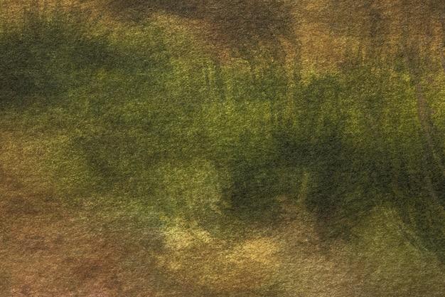 Sztuka abstrakcyjna ciemnozielone i brązowe kolory.