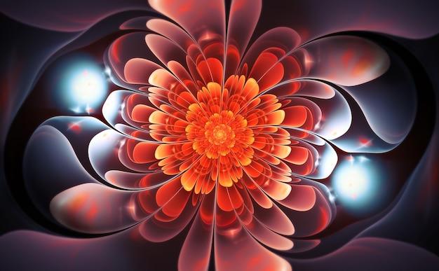Sztuka abstrakcyjna fraktali. czerwone i niebieskie błyszczące płatki kwiatów. ciemne tło.