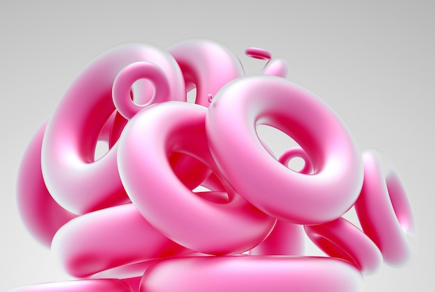 Sztuka abstrakcyjna z grupą figur geometrycznych torus lub pierścienie w kolorze różowym