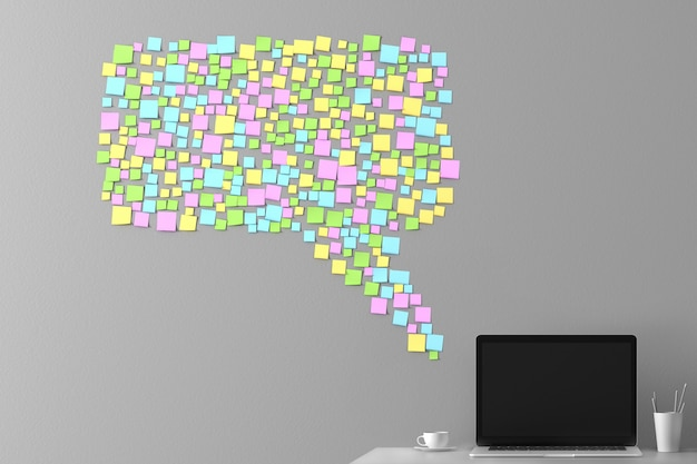 Sztuka konceptualna na temat komunikacji i bezczynności w biurze.