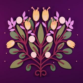 Sztuka ludowa 3d kwiat kartkę z życzeniami 3d render ornament ilustracja botaniczna