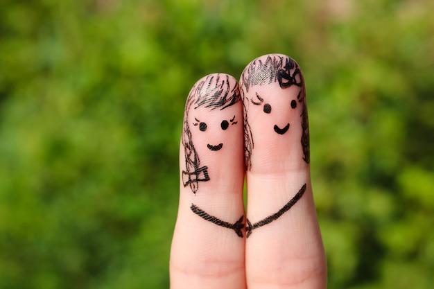 Sztuka palca. kobiety trzymające się za ręce.