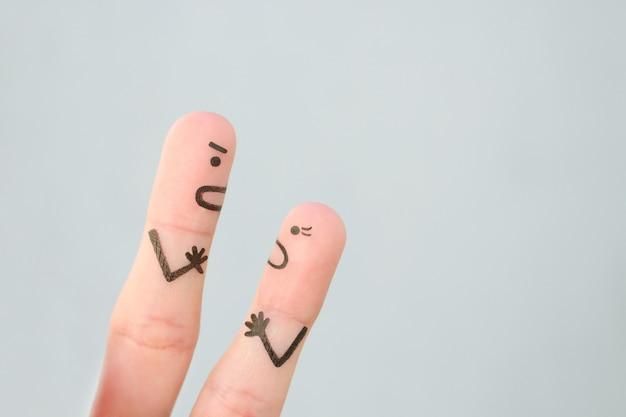 Sztuka palców pary podczas kłótni.