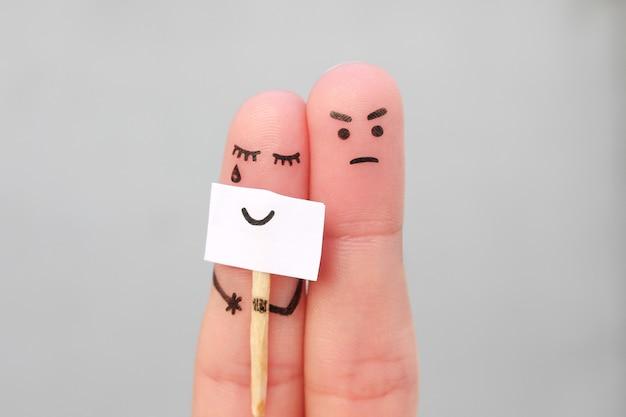 Sztuka palców pary. pojęcie kobiety ukrywanie emocji, człowiek jest szczęśliwy.