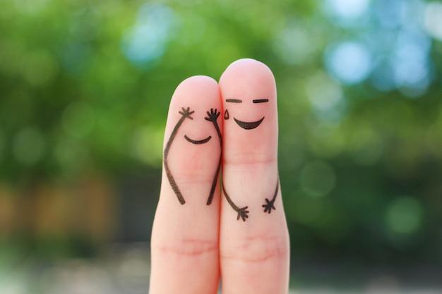 Sztuka palców pary. pojęcie ludzi śmiejących się.