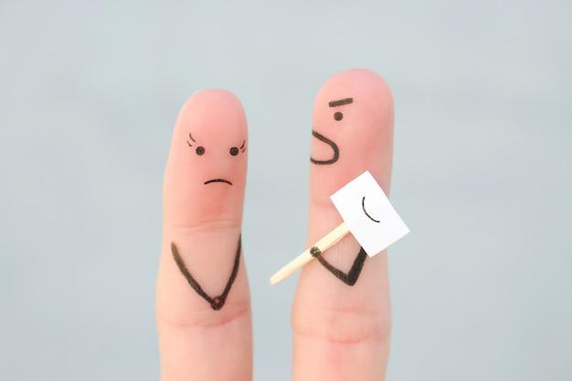 Sztuka palców rodziny podczas kłótni. pojęcie ludzi ukrywających emocje. mąż krzyczy na żonę.