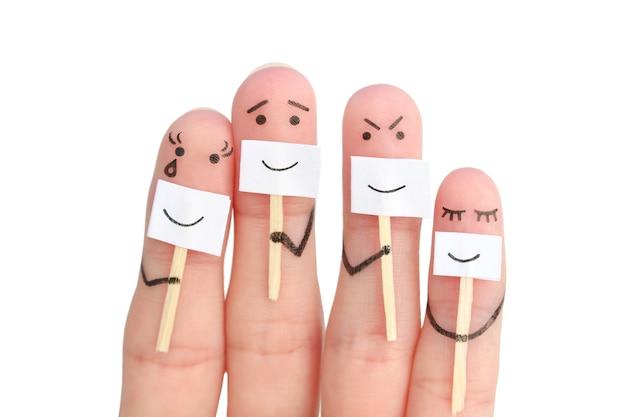 Sztuka palców rodziny. pojęcie ludzi ukrywających emocje na białym tle.