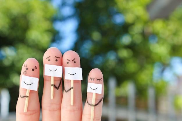 Sztuka palców rodziny. pojęcie ludzi ukrywających emocje.