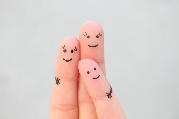 Sztuka palców szczęśliwej rodziny. koncepcja para gejów z dzieckiem.