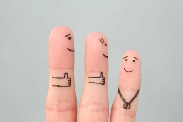 Sztuka palców szczęśliwej rodziny. rodzice concept są dumni ze swojego dziecka.