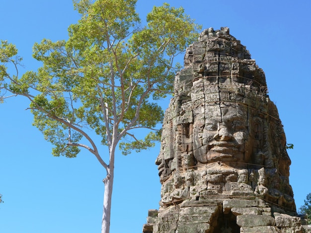 Sztuka rzeźbienia w kamieniu w banteay kdei, część kompleksu angkor wat w siem reap w kambodży