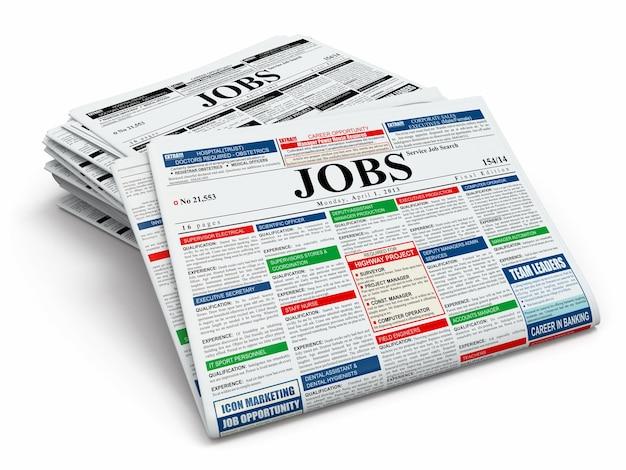 Szukaj pracy. gazety z reklamami na na białym tle. 3d