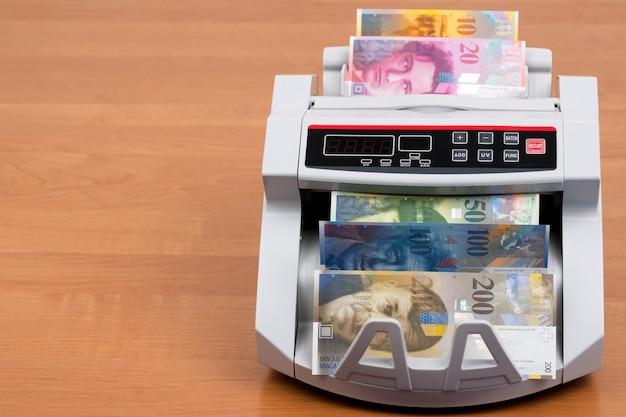 Szwajcarskie pieniądze w maszynie liczącej