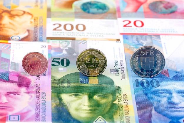 Szwajcarskiego franka monety na tle banknoty