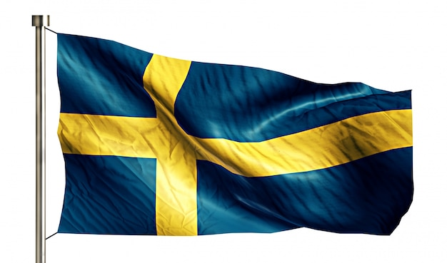 Szwecja flaga narodowa pojedyncze 3d białe tło
