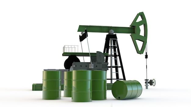 Szyb naftowy i beczki na białym tle
