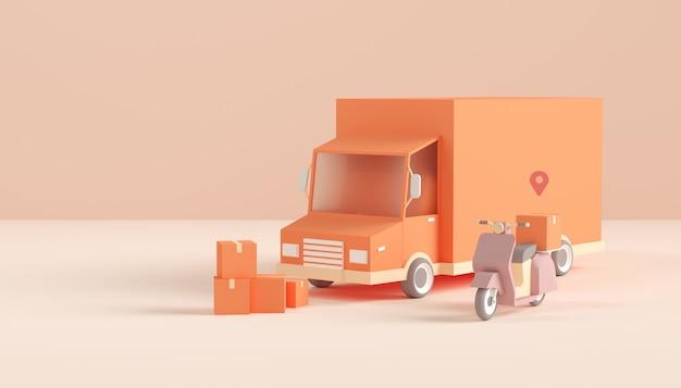 Szybka doręczeniowa usługa motocyklu i ciężarówki pojęcia tłem