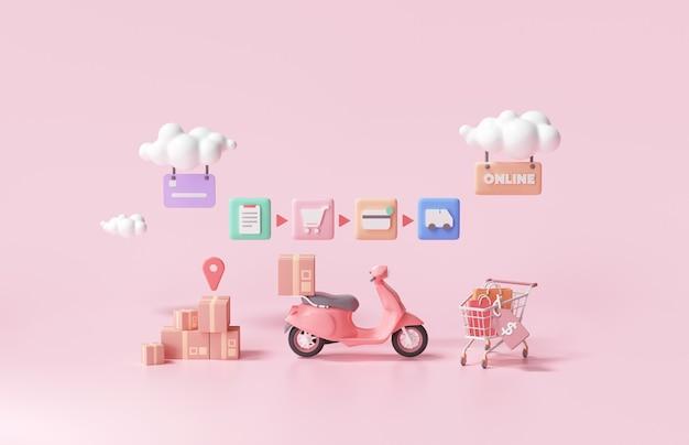 Szybka dostawa 3d, opakowanie dostarczane przez koncepcję skutera, zakupy online. renderowanie 3d