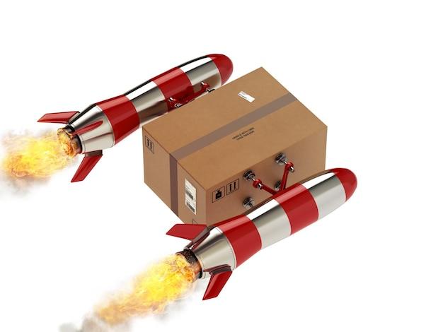 Szybka dostawa paczki rakietą turbo. renderowanie 3d