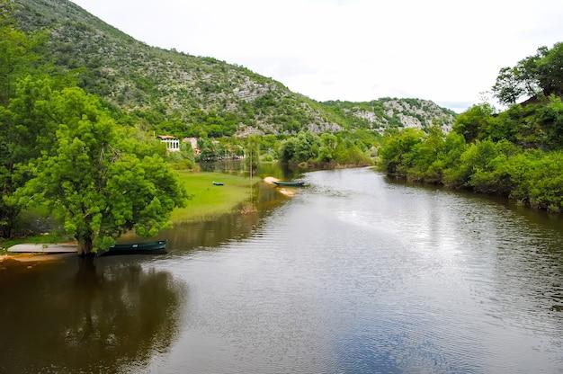Szybka górska rzeka płynąca między wysokimi górami. rzeka crnojevica.