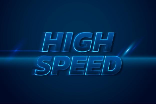 Szybka ilustracja 3d z neonową prędkością tekstu niebieskiej typografii