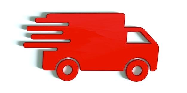 Szybka wysyłka dostawa ciężarówka ikona ilustracja 3d