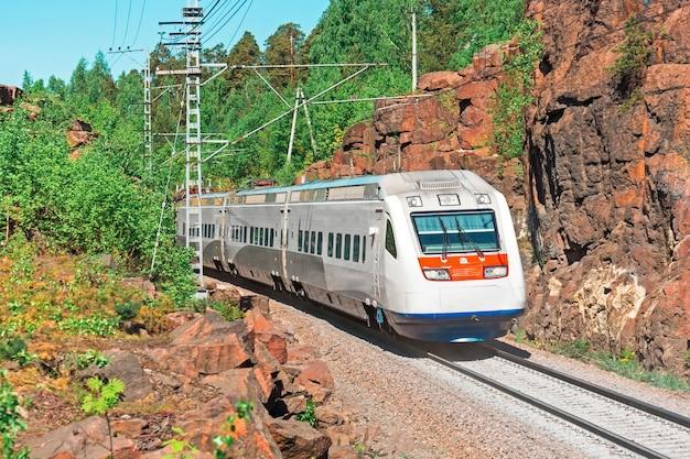 Szybki pociąg elektryczny. kolej przechodzi w skalistym kanionie w lesie.