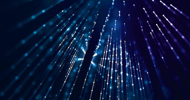 Szybki transfer danych z punktami i liniami reprezentującymi włókno 5g. koncepcja technologiczna, społeczna, cybernetyczna. renderowania 3d.