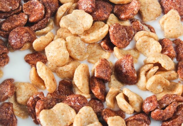 Szybkie śniadanie płatki kukurydziane w mleku z bliska