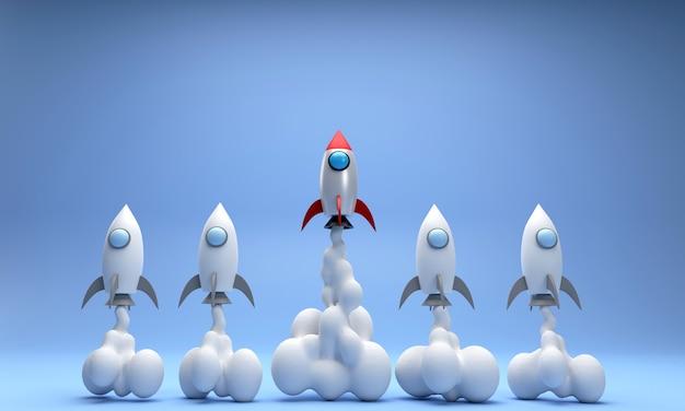 Szybująca rakieta 3d różne rakiety latają wysoko i wyróżniają się spośród innych koncepcji start-up
