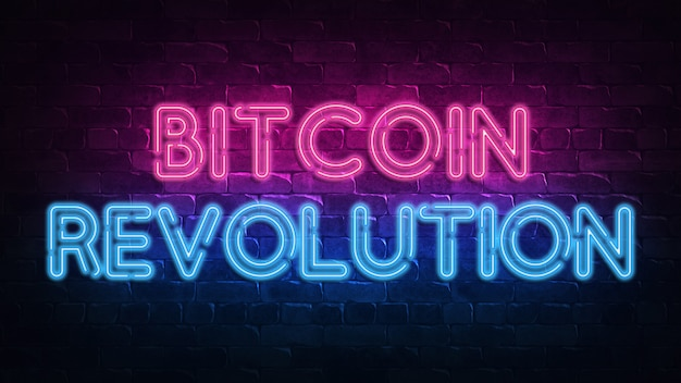Szyld neon rewolucji bitcoin