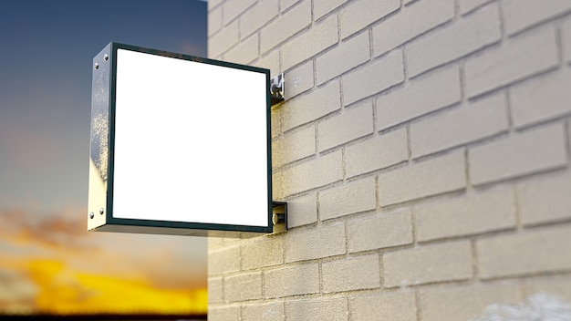 Szyld podświetlany. podświetlane pudełko mockup wykonane z metalu zostały zainstalowane obok ceglanej ściany na logo