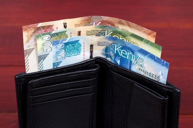 Szylingi kenijskie w czarnym portfelu